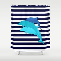 dolphins Shower Curtains featuring Dolphins by My Studio
