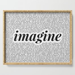 imagine - Ariana - imagination - lyrics - white black Serving Tray