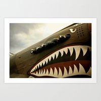 jaws Art Prints featuring JAWS by MOREGUINNESS