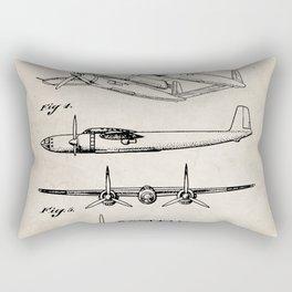 Hughes Lockheed Airplane Patent - Hughes Aviation Art - Antique Rectangular Pillow