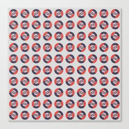 Simple geometric discs pattern red and silver Canvas Print
