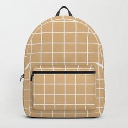 Burlywood - brown color - White Lines Grid Pattern Backpack