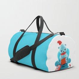 Teddy Bear With Christmas Box on White Duffle Bag