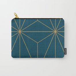 Peacock blue geometrical pyramid Carry-All Pouch
