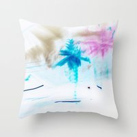 preppy Throw Pillows featuring Preppy Beach by EPART