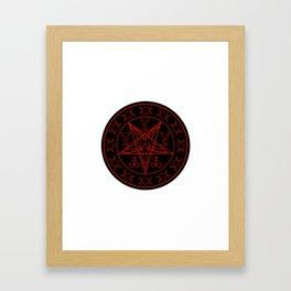 Wiccan symbols- Cross of Sulfur, Triple Goddess, Sigil of Baphomet and Lucifer Framed Art Print