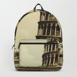 Vintage Leaning Tower of Pisa Photograph (1900) Backpack