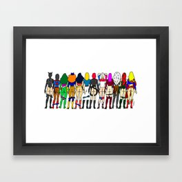 Superhero Butts - Girls - Row Version - Superheroine Framed Art Print
