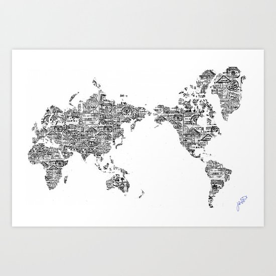 Passport Stamp Map 1 Art Print