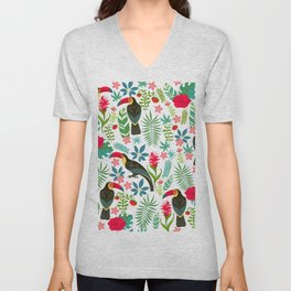 Decorative pattern with toucans, tropical flowers and leaves Unisex V-Neck