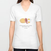 leslie knope V-neck T-shirts featuring Leslie Knope Loves Breakfast Food by She's That Wallflower