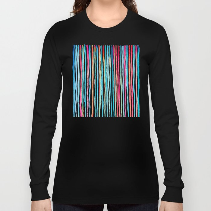 Watercolor Stripes in Pink, Coral, Blue & Aqua Long Sleeve T-shirt