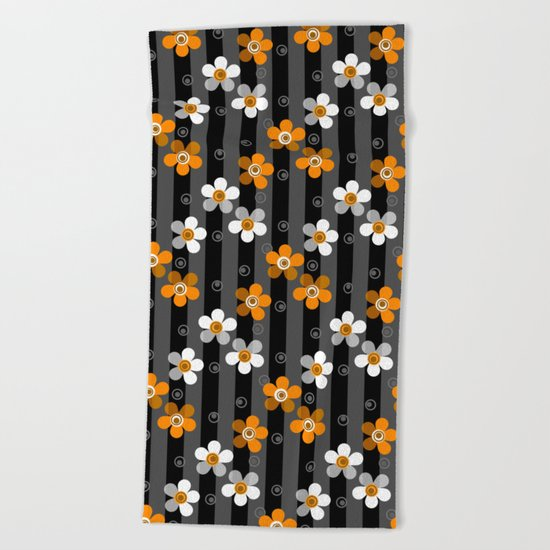 Black and yellow floral pattern on a striped background . Beach Towel