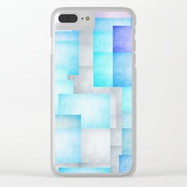 Geometric blue and grey mixed media Clear iPhone Case