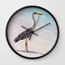 Maldivian Grey Heron Wall Clock