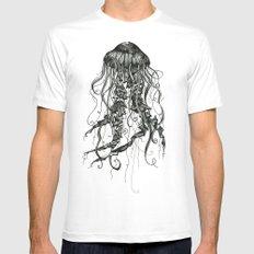 Jellyfish White MEDIUM Mens Fitted Tee