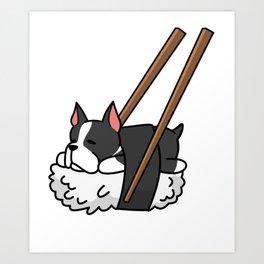 Boston Terrier Sushi Art Print