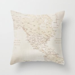 Vintage sepia map of America - PRINTS in L and XL only Throw Pillow