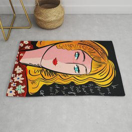French Art Portrait with Poetry Rug