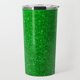 Emerald Green Shiny Metallic Glitter Travel Mug