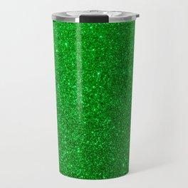 Emerald Green Shiny Metallic Glitter Travel Mug