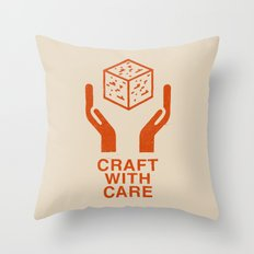 Craft With Care (Orange) Throw Pillow