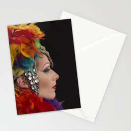 Drag Queen in Rainbow Headdress (Profile) Stationery Cards