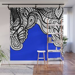 Blue Royal Doodle Artwork Wall Mural