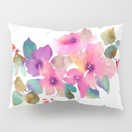 Lovely pink flowers. Watercolor florals Pillow Sham