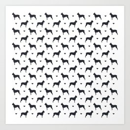 boston terrier silhouette pattern Art Print