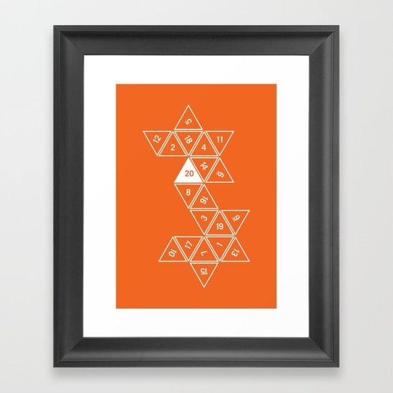 Orange Unrolled D20 by clarkstreetpress
