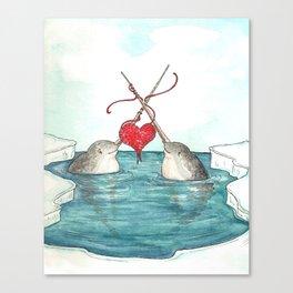 Knitting Narwhals Canvas Print