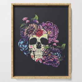 Day of the dead skull with flowers Serving Tray