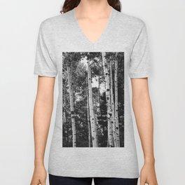 Aspen Forest - Black And White Nature Photography Unisex V-Neck