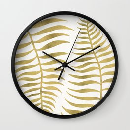 Golden Palm Leaf Wall Clock