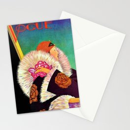 1927 Vintage Art Deco Flapper Young Woman Magazine Cover by George Wolfe Plank Stationery Cards