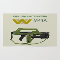 aliens Area & Throw Rugs featuring Aliens M41A by avoid peril