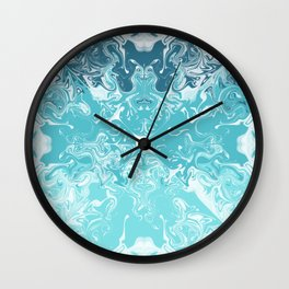 Teal And Aqua Acrylic Paint Pour Wall Clock