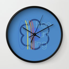 Free surfing blue Wall Clock