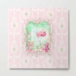 The Swing, Romantic Marie Antoinette Garden Metal Print