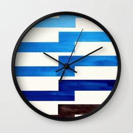 prussian blue watercolor painting geometric zigzag pattern lightning bolt Wall Clock