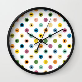 Music Player Icons Polka Dots (Multicolor on White) Wall Clock