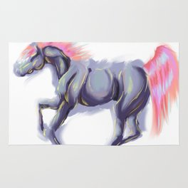 Digital Pastel Colorful Southwestern Galloping Horse Rug
