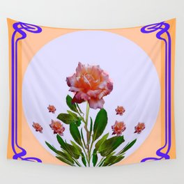 PEACHY PINK ROSE ART NOUVEAU ART Wall Tapestry