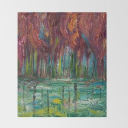 Red Trees Thick Impasto Abstract  Painting Throw Blanket