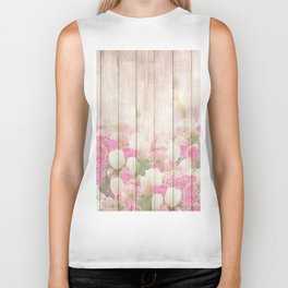 Beautiful Pink Tulip Floral Vintage Shabby Chic Biker Tank