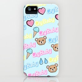 CRY BABY PRINT- PASTEL BLUE iPhone Case