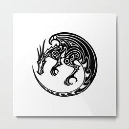 Tribal dragon - button design Metal Print