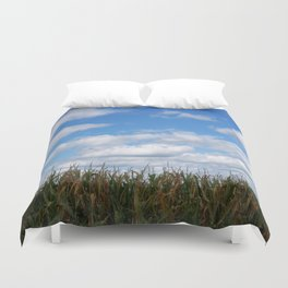 """Corn field in autumn with """"popcorn"""" clouds Duvet Cover"""