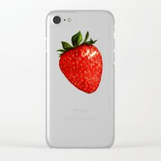 Strawberry Pattern - White Clear iPhone Case